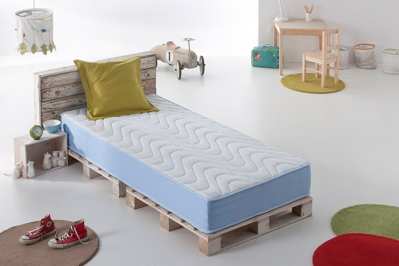 lit matelas junior pour enfant a memoire de forme visco elastique blue latex. Black Bedroom Furniture Sets. Home Design Ideas
